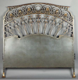 AN ART NOUVEAU PATINATED AND G