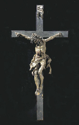 A POLYCHROME PAINTED CRUCIFIX,