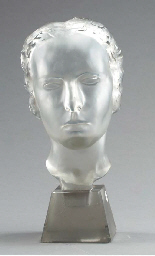 A FROSTED GLASS BUST OF A WOMA