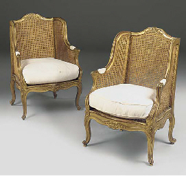 A PAIR OF FRENCH GILTWOOD CANE