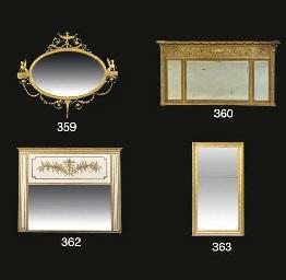 A gilt rectangular mirror