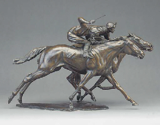 AN ENGLISH BRONZE EQUESTRIAN G