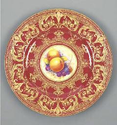 A Royal Worcester claret-groun