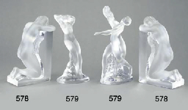 A pair of Lalique clear and fr