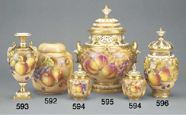 A Royal Worcester oviform pot-