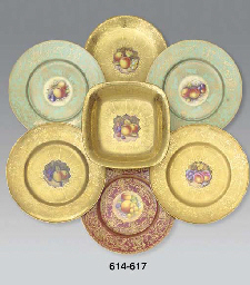 A pair of Royal Worcester gold