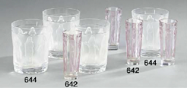 Five clear and frosted glass t