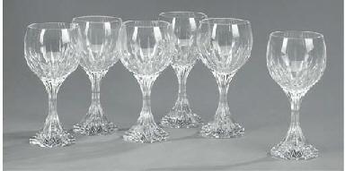 Six Baccarat wine glasses