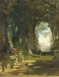Cavaliers in a wooded avenue,