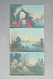 Three Chinese reverse glass mi