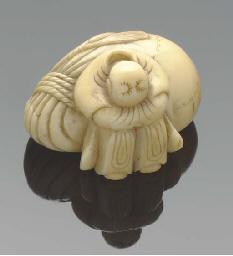 A Japanese ivory netsuke of fa