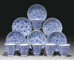 Six Chinese blue and white fla