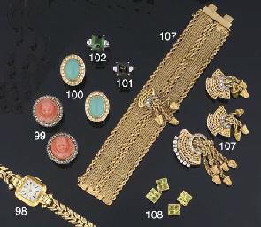 A pair of peridot cufflinks
