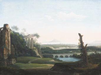 Paysage avec des ruines antiqu