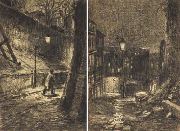 Une rue de Montmartre la nuit