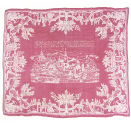 A puce and white damask tablec