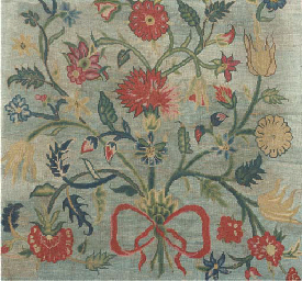 A needlepoint panel, worked in