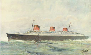The S.S. Normandie leaving Le