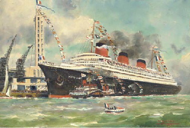 The S.S. Normandie off Le Havr