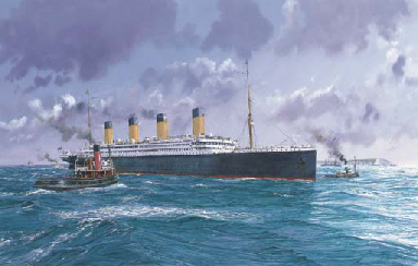 R.M.S. Titanic embarking on he