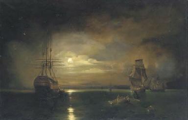 Rowing ashore at moonlight