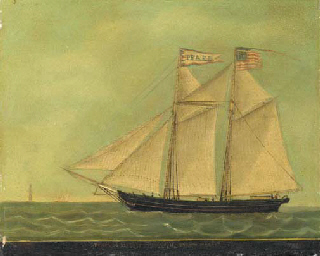 The schooner Pearl off a light