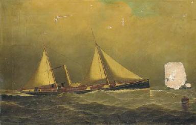 A steam sail ship at sea