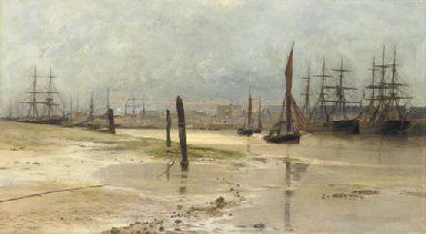 Shipping at dawn, Woolwich rea