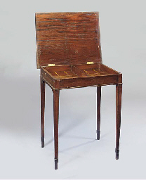 A MAHOGANY BACKGAMMON TABLE