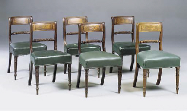 A SET OF SIX MAHOGANY BRASS IN