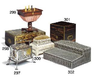A steel and horn casket