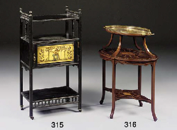 An ebonised and gilt decorated