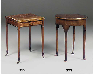 A MAHOGANY DEMI LUNE TEA TABLE