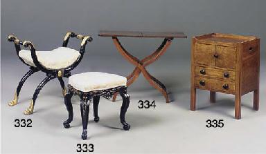 A mahogany and ebonised commod