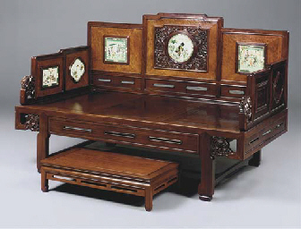 A CHINESE CARVED HARDWOOD AND