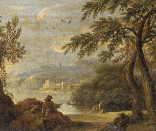 Figures resting by a lake shor