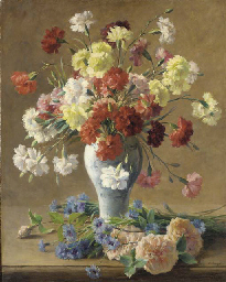 Still life with carnations in
