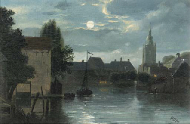 View of a town on a canal unde