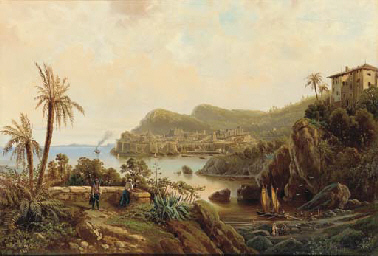 A view of a coastal town with