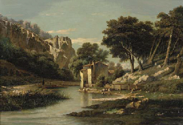A river landscape with a sheph