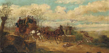 A stagecoach and a hunting par