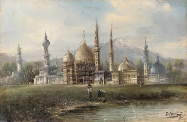 View of a mosque with figures