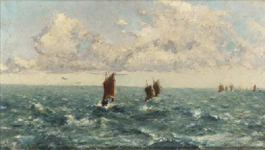 Sailing boats on choppy waters