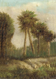 Study of palm trees; also a co