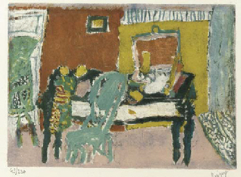 Interior of a room with a tabl