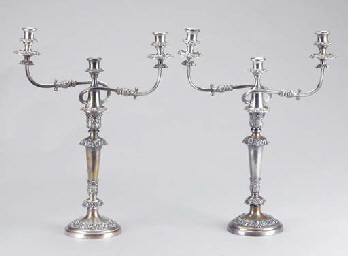 A PAIR OF SILVER-PLATED THREE-