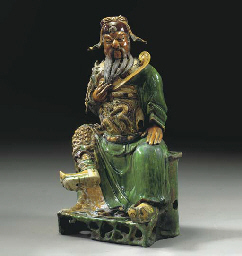A LARGE CHINESE GLAZED TILEWOR