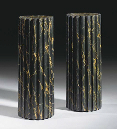 A PAIR OF FAUX PORTOR MARBLE P