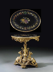 AN ITALIAN GILTWOOD AND PIETRE