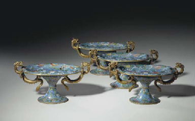 A SET OF FOUR CHINESE CLOISONN